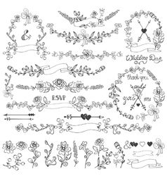 Doodles floral decor vector