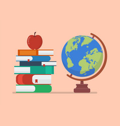 Earth globe model with books and apple vector