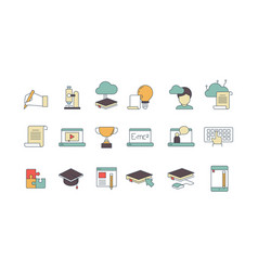 Education online symbols special learning courses vector