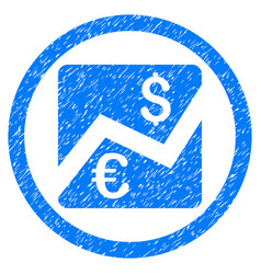 Euro dollar chart rounded grainy icon vector