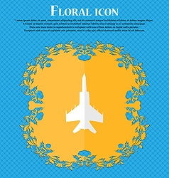 Fighter Floral flat design on a blue abstract vector