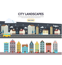 flat city landscape template vector image