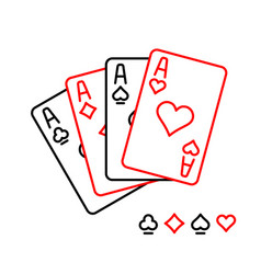four aces playing cards line style vector image