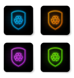 glowing neon recycle symbol inside shield icon vector image