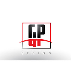 gp g p logo letters with red and black colors and vector image