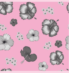 grayscale hibiscus seamless pattern pink vector image