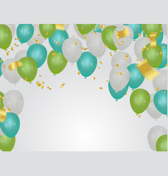 green balloons colorful flying balloonsconfetti vector image