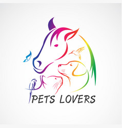 Group pets - horse dog cat bird butterfly vector
