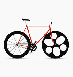 hipster single speed bike in black and red colors vector image
