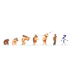 Human evolution from monkey to cyborg historical vector