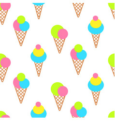 ice cream cones on white bright seamless pattern vector image