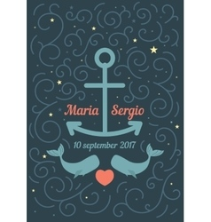 Invitation to the wedding in a marine theme vector