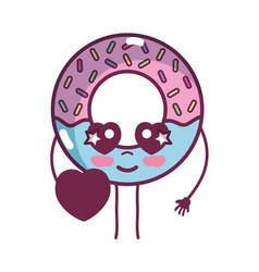 Kawaii cute tender donut dessert vector