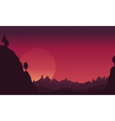 Landscape of cliff silhouettes collection vector