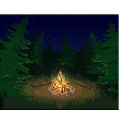 Landscape with bonfire vector