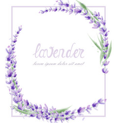 Lavender wreath watercolor round frame decor vector