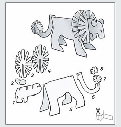 Lion from pieces paper compose figure vector
