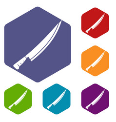 Long knife icons set hexagon vector