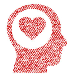 love thinking head fabric textured icon vector image