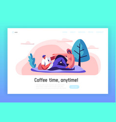 loving couple outdoor on picnic landing page vector image