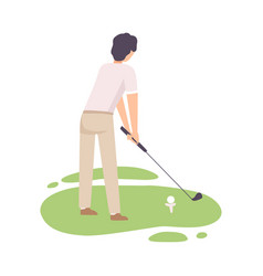 man playing golf male golfer training with golf vector image