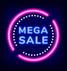 mega sale on cyber monday clearance neon sign vector image