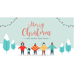 Merry christmas card of diverse people singing vector