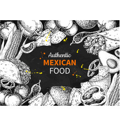 Mexican food sketch label in frame vector