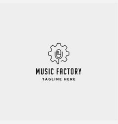 Music gear logo design studio headphone vector