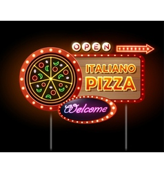 Neon sign pizza vector image