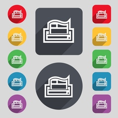 Newspaper icon sign A set of 12 colored buttons vector image