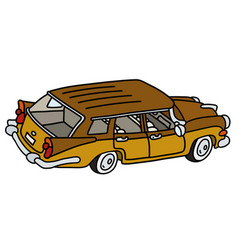 Old big station wagon vector