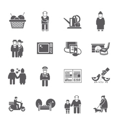 Pensioners Life Icons Set vector image