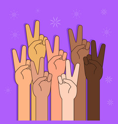 People with peace or victory sign vector