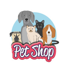 Pet shop group of domestics animals vector
