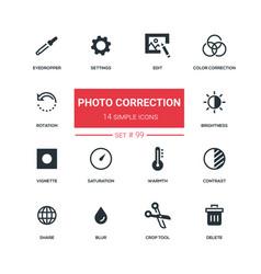 photo correction - flat design style icons set vector image