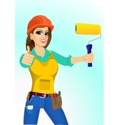 plasterer woman with paint roller vector image