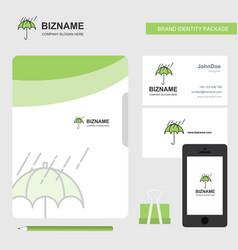 raining and umbrella business logo file cover vector image