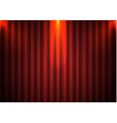 Red curtain background with spotlight in theater vector