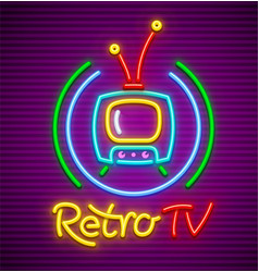 retro tv neon icon vector image