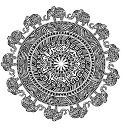 round pattern with ethnic elements and elephants vector image
