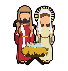 saint joseph and virgin mary icon vector image