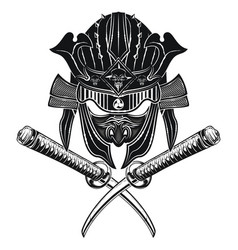 samurai mask with helmet and two swords vector image