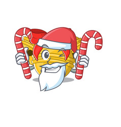 Santa with candy jingle bell on character vector