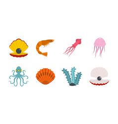 sea creature icon set flat style vector image
