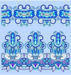 seamless ethnic blue paisley stripe pattern vector image