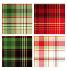 Seamless green red checked patterns vector