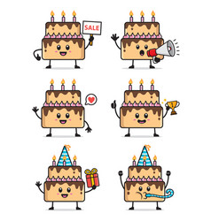 set cake character design vector image
