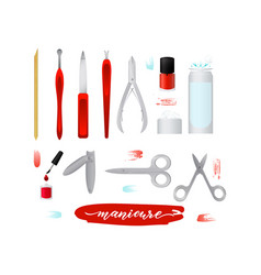 set collection of manicure accessories nail files vector image