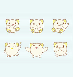 Set of cute baby animals sticker collection vector